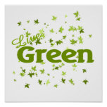 live green leaves poster