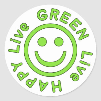 Live Green Live Happy Pro Environment Eco Friendly Classic Round Sticker