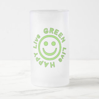 Live Green Live Happy Pro Environment Eco Friendly Frosted Glass Beer Mug