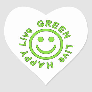 Live Green Live Happy Pro Environment Eco Friendly Heart Sticker