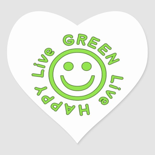 Live Green Live Happy Pro Environment Eco Friendly Heart Sticker