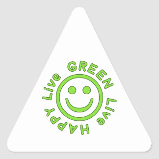 Live Green Live Happy Pro Environment Eco Friendly Triangle Sticker