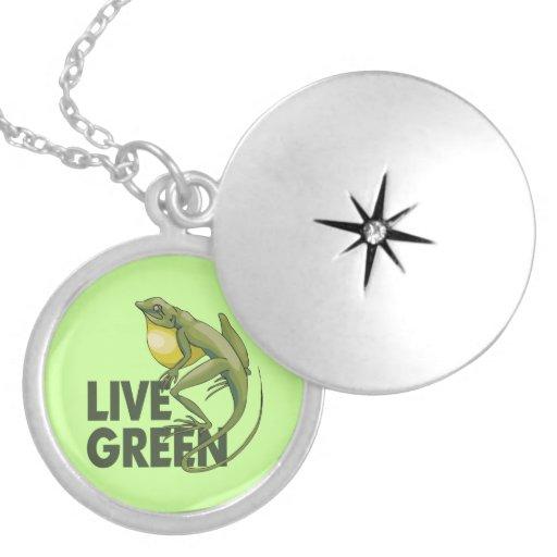 Live Green, Lizard Round Locket Necklace