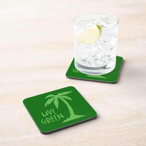 Live Green Palm Tree Drink Coasters