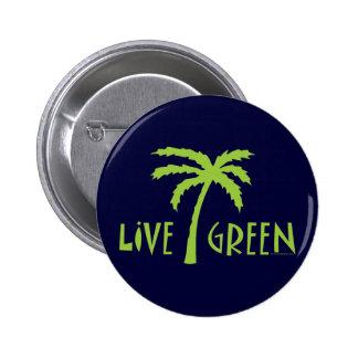 Live Green Palm Tree Environmental Button