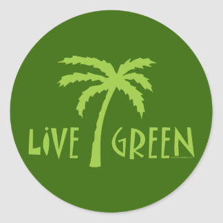 Live Green Palm Tree Environmental Classic Round Sticker
