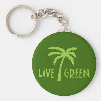 Live Green Palm Tree Environmental Keychain