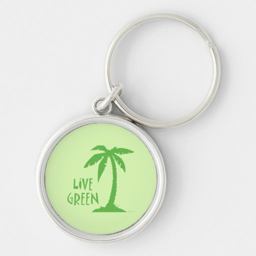 Live Green Palm Tree Keychain