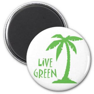 Live Green - Palm Tree Refrigerator Magnet