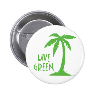 Live Green - Palm Tree Pinback Button