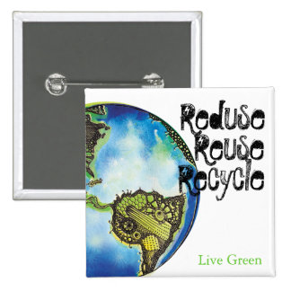 Live Green Pinback Button