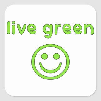 Live Green Pro Environment Eco Friendly Renewable Square Sticker