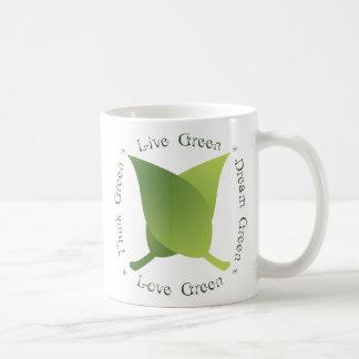 Live green, think green, dream green, love green classic white coffee mug