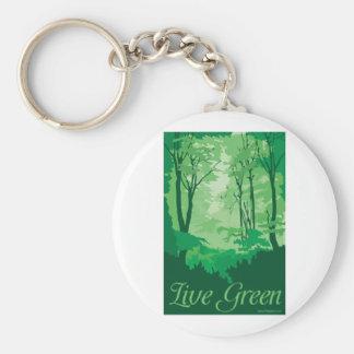 Live Green - Tree Hugger Basic Round Button Keychain