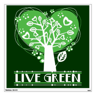 Live Green Tree of Hearts Wall Sticker