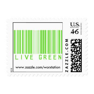 Live Grenn Barcode Postage Stamp
