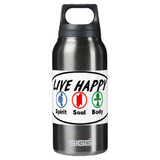 LIVE HAPPY Spirit, Soul, Body Insulated Water Bottle