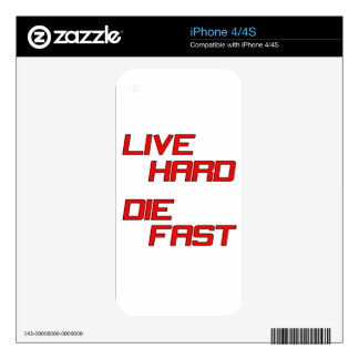 Live Hard Die Fast Decals For The iPhone 4S