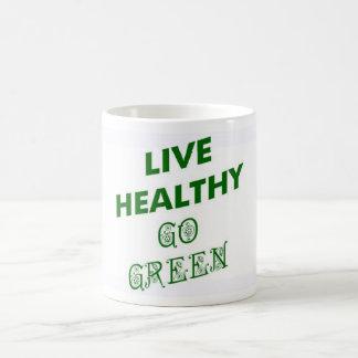 LIVE HEALTHY, GO GREEN CLASSIC WHITE COFFEE MUG