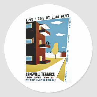Live Here at Low Rent Classic Round Sticker