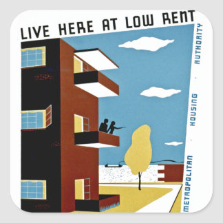 Live Here at Low Rent Square Sticker