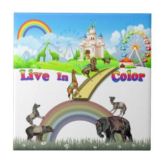 Live In Color Vintage Circus Animals Team Work Ceramic Tile