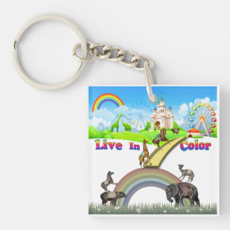 Live In Color Vintage Circus Animals Team Work Keychain