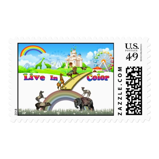 Live In Color Vintage Circus Animals Team Work Postage
