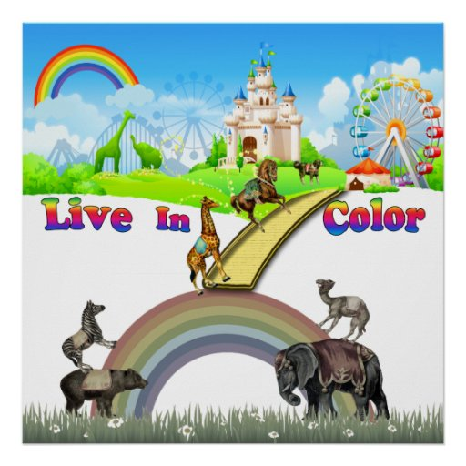 Live In Color Vintage Circus Animals Team Work Poster