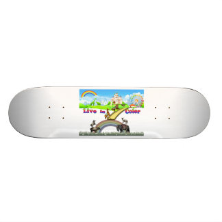 Live In Color Vintage Circus Animals Team Work Skateboard