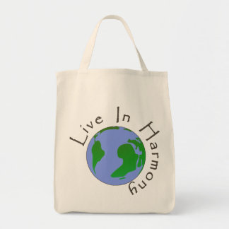 Live in Harmony - Planet Earth Tote Bag