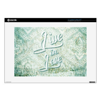 """Live In Love vintage damask with tattoo script. 15"""" Laptop Decal"""