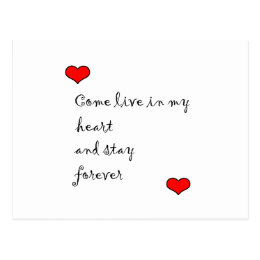 Live In My Heart Postcard