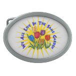 Live In Peace Garden Oval Belt Buckle