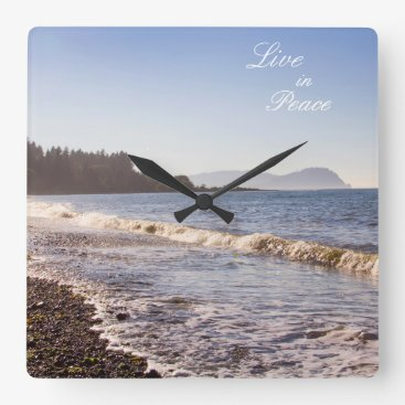 Live in Peace Ocean Waves Wall clock