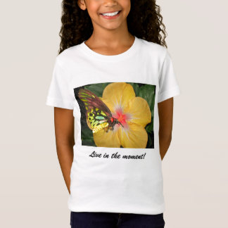 Live in the Moment Butterfly on Flower Designs T-Shirt