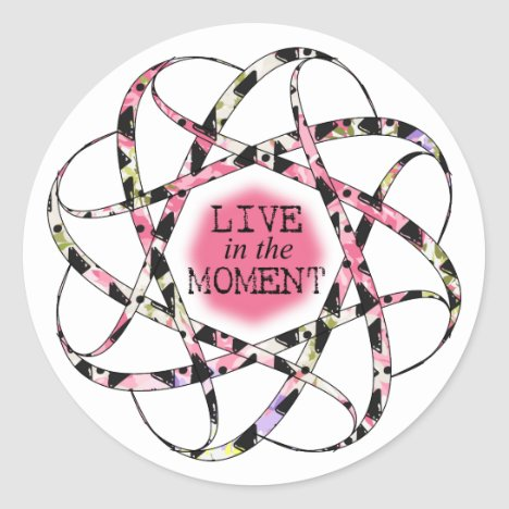 Live in the Moment colorful floaty circular ribbon Classic Round Sticker