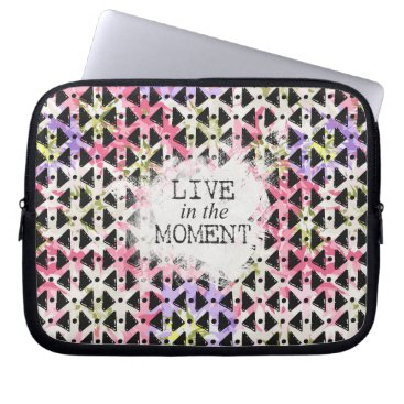 Aztec Themed Live in the Moment criss cross pink mauve black Laptop Sleeve