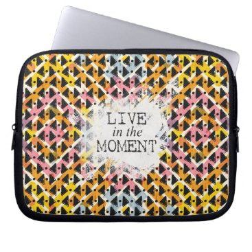 Aztec Themed Live in the Moment criss cross yellow pink black Computer Sleeve