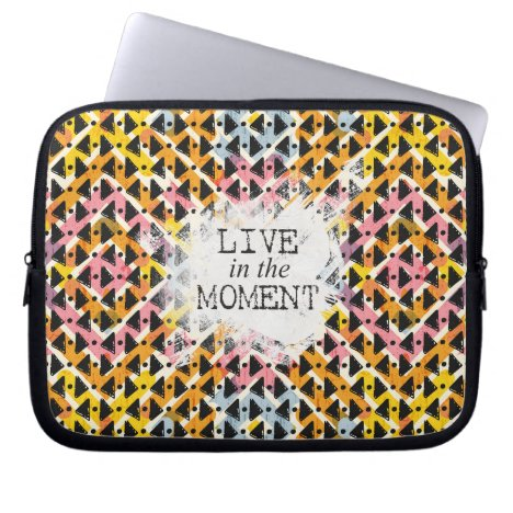 Live in the Moment criss cross yellow pink black Computer Sleeve