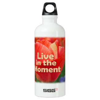 Live in the Moment w/vibrant Tulip Water Bottle
