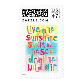 Live in the Sunshine Swim the Sea Quote Postage