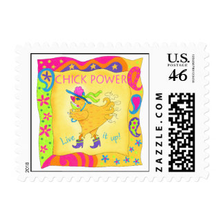 Live It Up Chick Power Postage Stamp