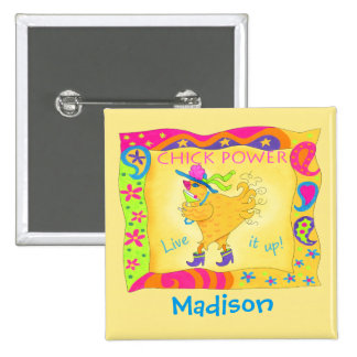 Live It Up Yellow Chick Power Name Badge 2 Inch Square Button