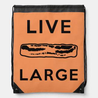 Live Large Drawstring Bags