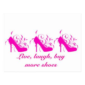 Live, Laugh, Buy More Shoes Postcard