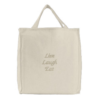 Live Laugh Eat Embroidered Tote Bag