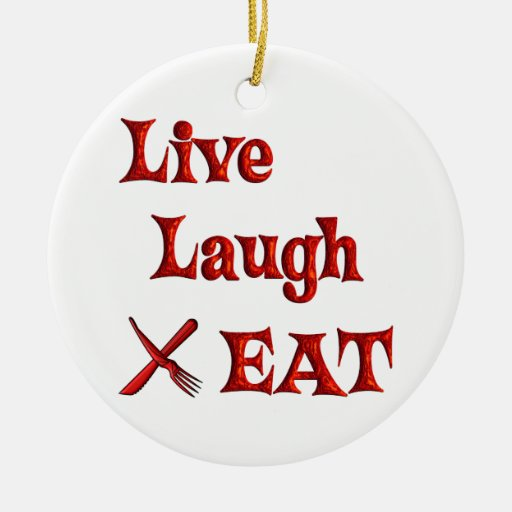 Live Laugh EAT Double-Sided Ceramic Round Christmas Ornament
