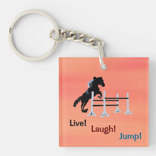 Live! Laugh! Jump! Equestrian Horse Single-Sided Square Acrylic Keychain