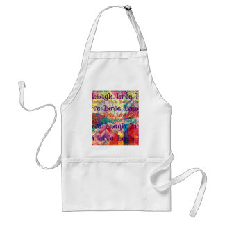 Live Laugh Love Abstract Textured Plaid Pattern Apron